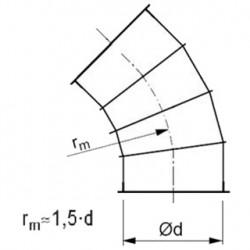 Līkums ar atloku 45° 1.5d D250