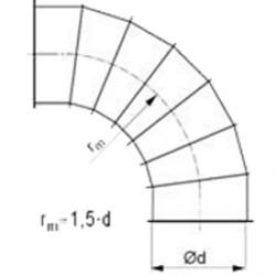 Līkums ar atloku 90° 1.5d D150